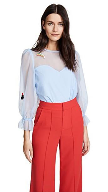 shirt light blue light blue top