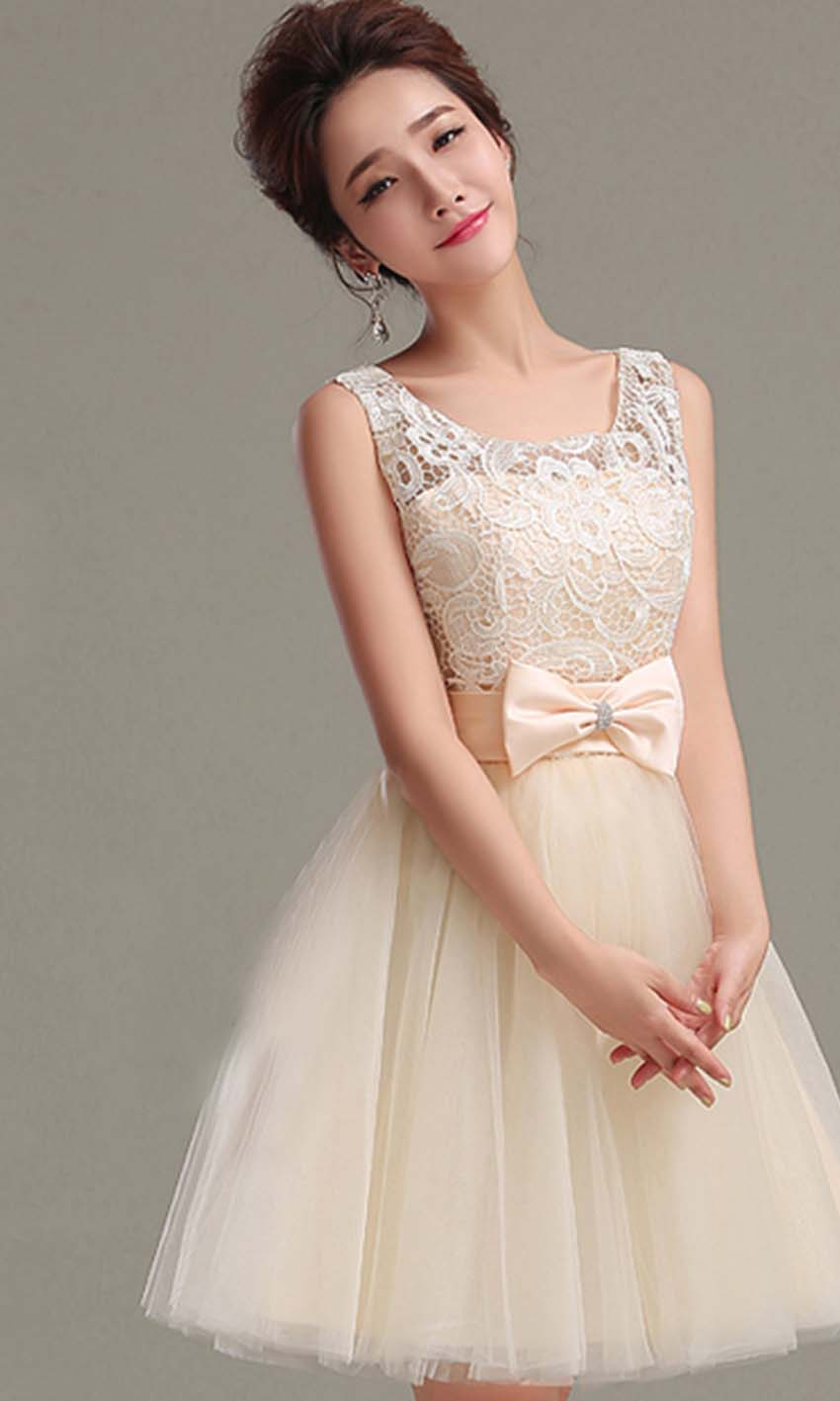 Cute beige retro bow knot short prom gown ksp348 ksp348 for Cute short white wedding dresses