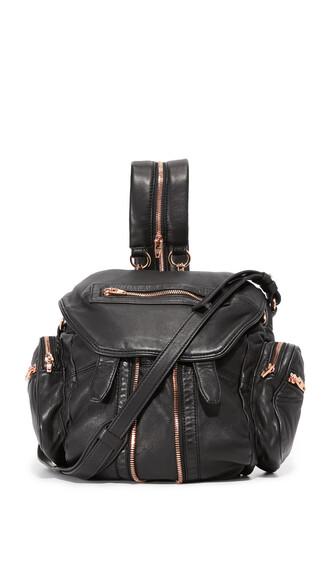mini rose gold rose backpack gold black bag