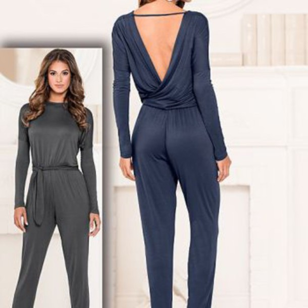 jumpsuit navy blue jumpsuit gray jumpsuit jumper jumper backless top backless shirt backless jumpsuit style stylish casual