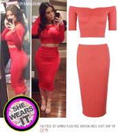 top,two-piece,set,celebrity,coral,crop tops,pencil skirt,skirt,dress,cute,lovely,trendy,tumblr,instant outfit,sexy,kim kardashian,celebrity style,get in new look,perfect combination