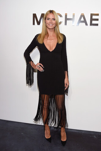 dress little black dress heidi klum fashion week 2014