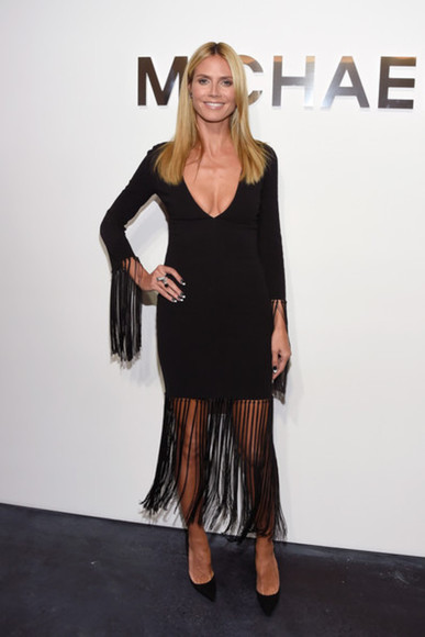 heidi klum dress little black dress fashion week 2014