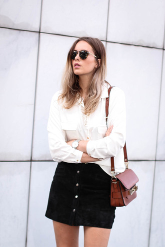 skirt white shirt sunglasses black button up skirt brown handbag blogger