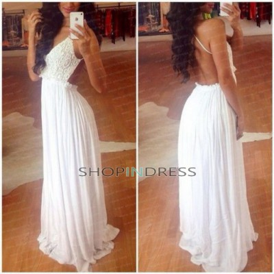 Line spaghetti straps floor length chiffon white prom dress with ruffles npd098049 sale at shopindress.com