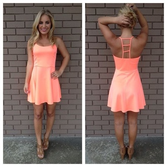 dress coral cute short summer