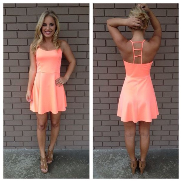dress coral cute short summer coral dress summer dress cute dress spring top short dress