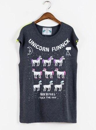 t-shirt unicorn pink black shirt