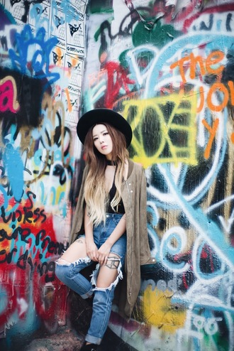 feral creature blogger coat jeans shoes bag black hat fall outfits grey coat black top ripped jeans blue jeans cuffed jeans grunge jewels black velvet choker