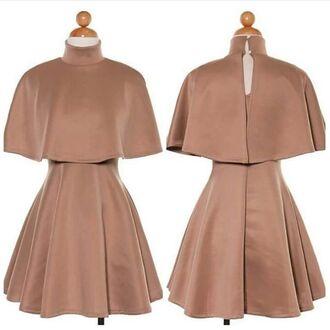 dress cape flared skater skirt button up dress two-piece two piece dress set tan