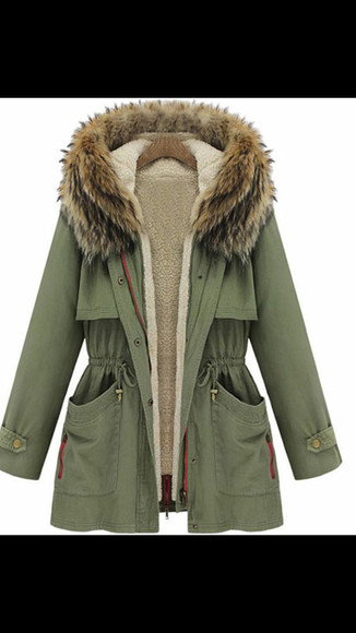 military green coat fur coat long arms