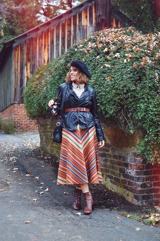 mysmallwardrobe blogger jacket blouse skirt bag shoes sunglasses belt fall outfits beret shoulder bag midi skirt ankle boots hat