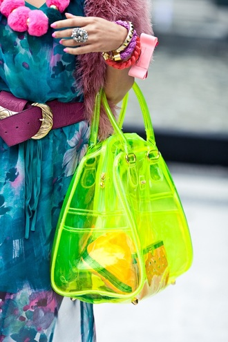 bag transparent statement piece viynl neon space space grunge see through transparent bag purse yellow neon yellow jellies clear jellies bright yellow grunge statement bright 90s style 90s grunge oldies