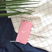phone cover,nike,pink,matte,pastel phone case,iphone 6 case,nike phone case,pink phone case,white,pino nike phone case