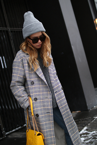 teetharejade blogger hat coat jeans sweater shoes sunglasses bag winter outfits beanie yellow bag tumblr plaid printed coat long coat printed long coat grey beanie yellow grey sweater black sunglasses
