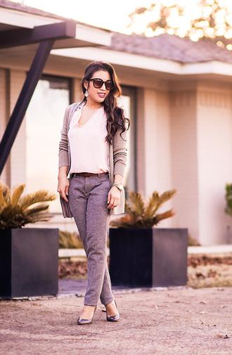 cute & little blogger cardigan top tank top pants belt shoes bag grey pants grey cardigan pumps