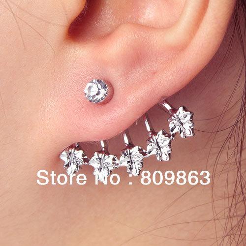 Ear cuff stud earrings wedding silver jewelry five maple leaf rhinestone best gift al3116