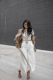 pants,tumblr,white top,white culottes,culottes,white pants,palazzo pants,cropped pants,top,white crop tops,crop tops,jacket,army green jacket,sandals,sandal heels,high heel sandals,spring outfits,necklace,silver necklace,jewelry,silver jewelry