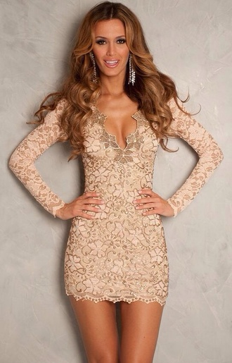 dress nude lace dress long sleeve dress short elegant classy party cocktail beige dress