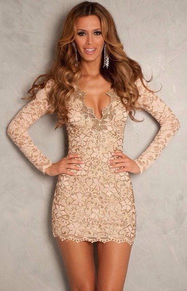 dress short nude lace dress long sleeve dress elegant classy party cocktail