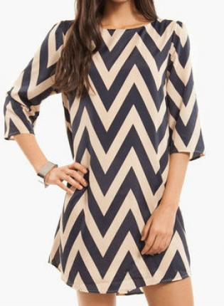 Cocktail Dress - Cream and Navy Chevron Dress | UsTrendy