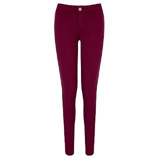 Buy Oasis Jade Lightweight Skinny Jeans, Burgundy | John Lewis
