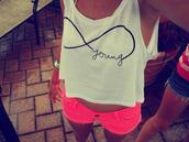 shorts,hot pink,infinity,forever young,neon pink,shirt,young,pink,tank top,infinite,blouse,pink short,white,neon,crop tops,cutoff shirt,weiss