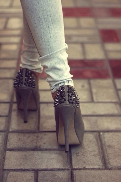 shoes high heels gray, studs, spikes, high, heels, platform jeans