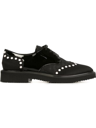 embellished shoes lace-up shoes lace black