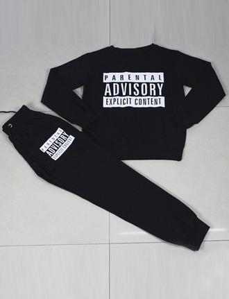 jumpsuit girl girly girly wishlist joggers parental advisory explicit content joggers pants matching set two-piece