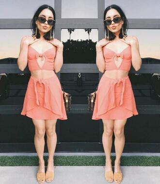 skirt top peach two piece dress set two-piece vanessa hudgens instagram summer outfits