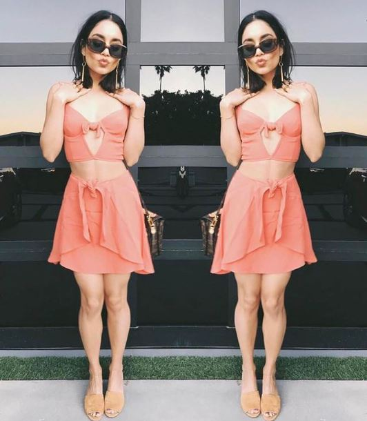 skirt top peach two piece dress set two-piece vanessa hudgens instagram summer outfits