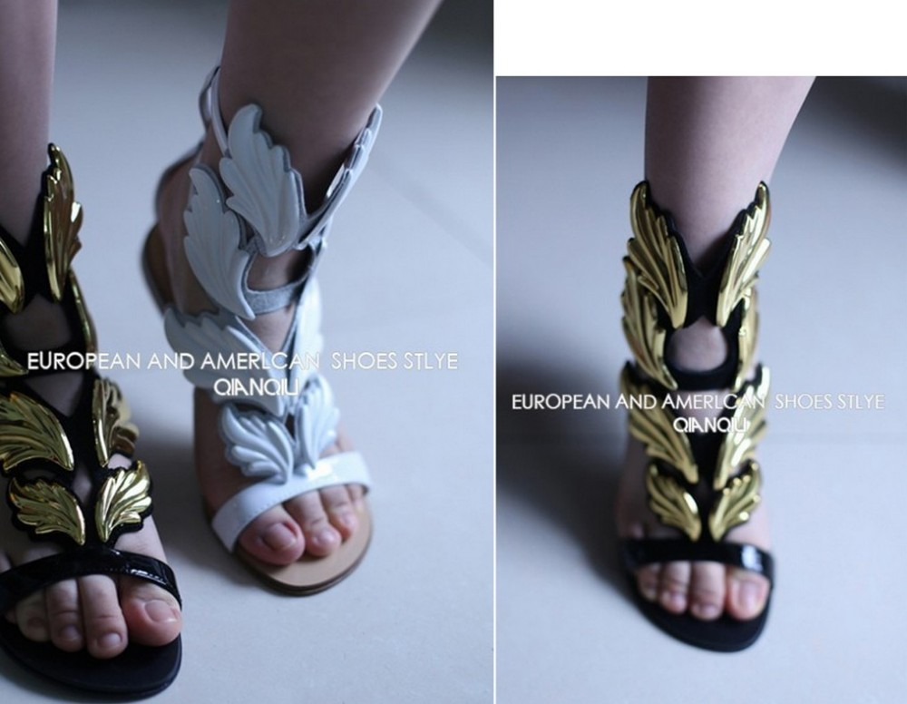 2013 Hot lady high heel sandals Design gold leaf embellished wedge pumps wings strap sandal bootie-in Pumps from Shoes on Aliexpress.com