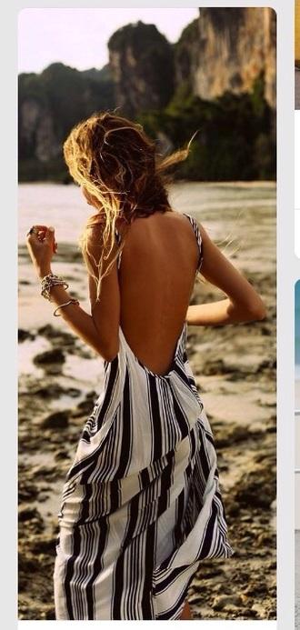 dress low back dress backless dress beach dress beach summer dress summer white dress striped dress