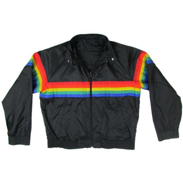 jacket rainbow windbreaker black vintage