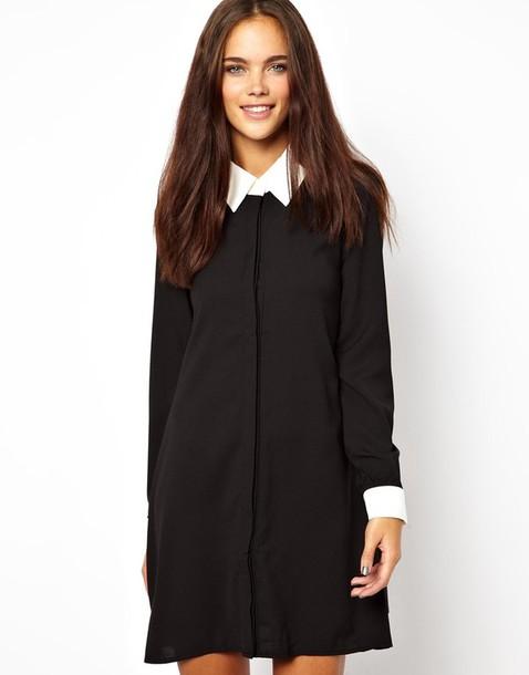 dress collar black dress fashion collared dress