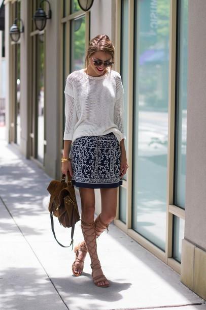 skirt embroidered skirt mini skirt printed skirt embroidered sweater spring sweater white sweater bag brown bag flat sandals gladiators knee high gladiator sandals embroidered denim skirt