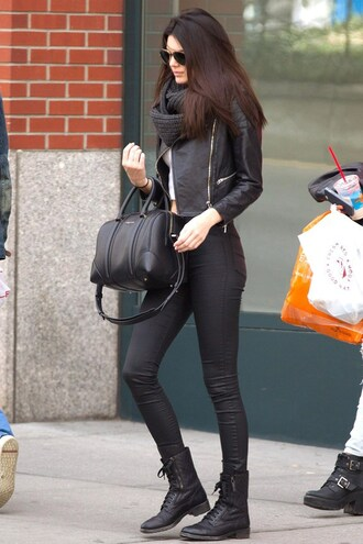 jeans black kendall jenner purse leather jacket sunglasses combat boots