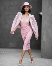 skirt,al,All pink outfit,all pink everything,pink skirt,pencil skirt,top,pink top,jacket,pink jacket,leather jacket,hat,pink hat,pointed toe pumps,pumps,pink pumps,midi skirt,midi,bodycon,cute,cute skirt,girly,girly skirt,summer outfits,summer holidays,dress
