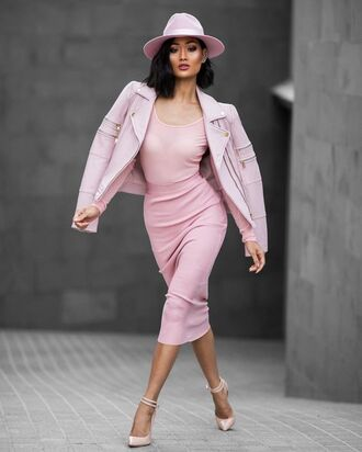 skirt al all pink outfit all pink everything pink skirt pencil skirt top pink top jacket pink jacket leather jacket hat pink hat pointed toe pumps pumps pink pumps midi skirt midi bodycon cute cute skirt girly girly skirt summer outfits summer holidays dress