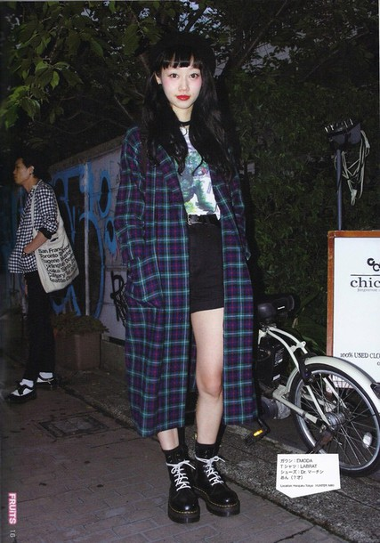 jacket coat tartan japan tokyo fashion japanese goth black blue red green fashion