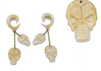 jewels white chain skull ear plug dangle gauge jewelry earrings