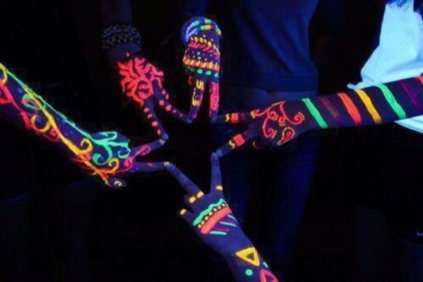 jewels glow in the dark neon colorful make-up