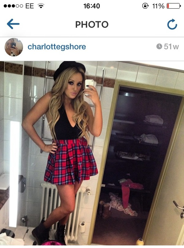 shirt high waisted tartan skater skirt skirt