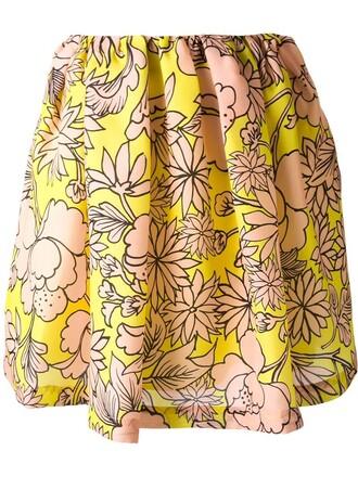 skirt floral print yellow orange