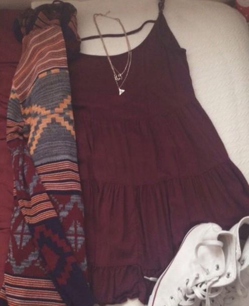 dress burgundy dress ruffle fall outfits sleeveless dress shift dress cardigan jewels