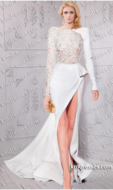 Amazing asymmetric jewel lattice bodice side ruffle slit gown inspired by taylor swift