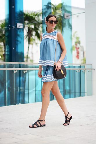 fashion vibe blogger skirt top shoes bag sunglasses