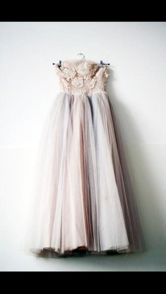 ivory floral purple lacey empire waist tulle formal dress formal bridal bridal dress flower bustier strapless dress vintage, chiffon, pale pink, pretty, prom dress, dress