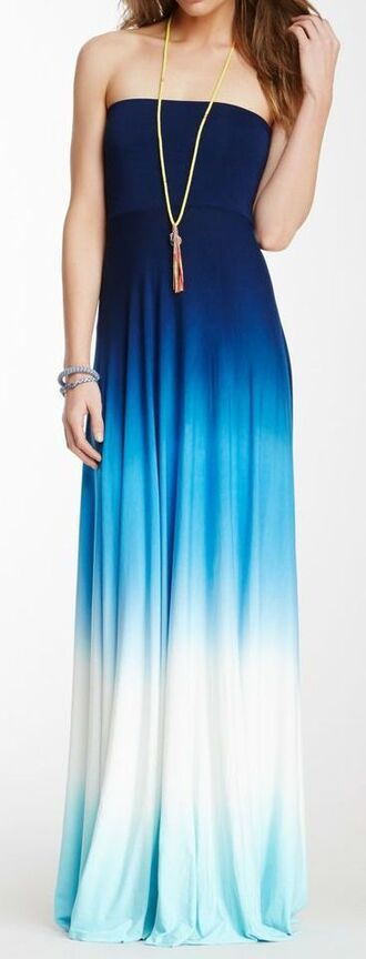 dress maxi skirt maxi dress ombre dress blue and white ombre